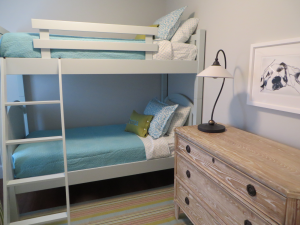 Rhode Island home with girls bedroom with bunk beds