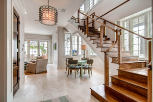Rosemary Beach house family room entry with elegant stairway