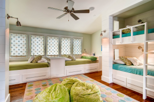 Rosemary Beach house girls bedroom with bunk beds