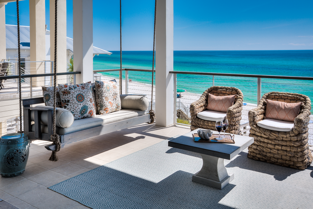 Inlet Beach porch with couch swing