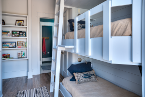 Inlet Beach house girls bedroom with bunk beds