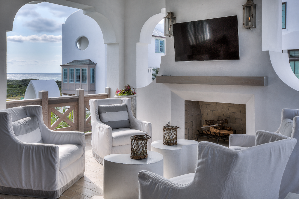 30A beach house outdoor den with fireplace