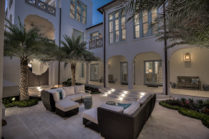 30A Florida beach house outdoor living room at night