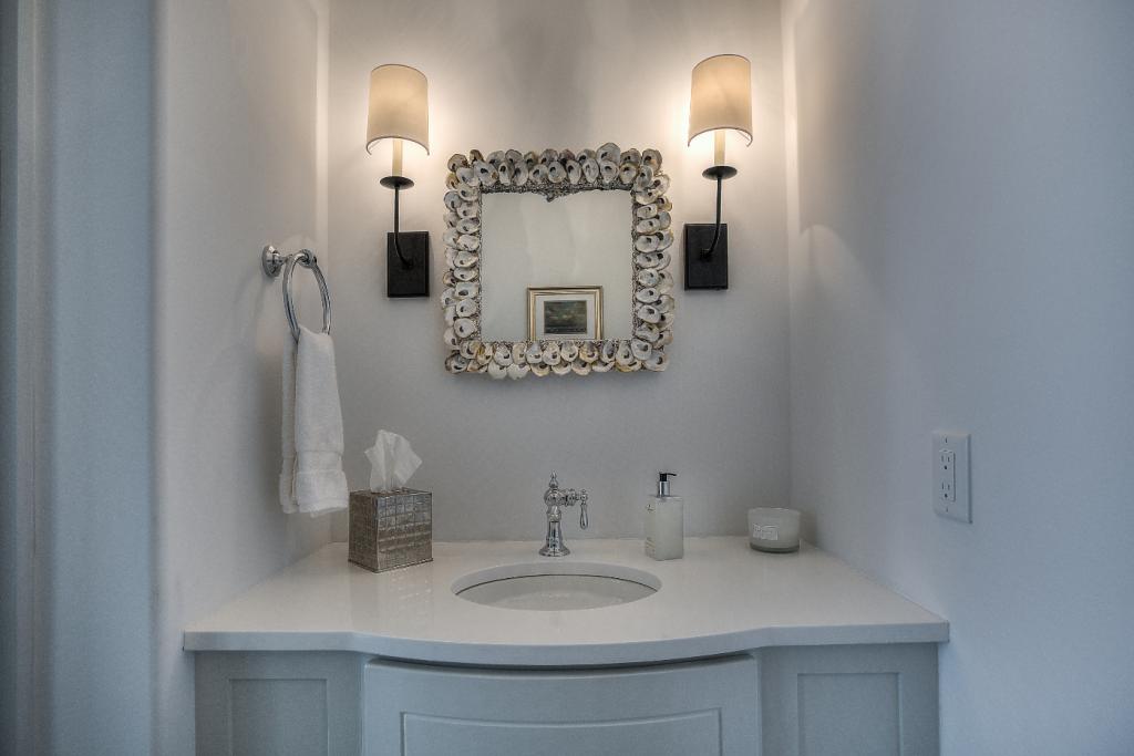 30A beach house guest bathroom oyster shell mirror
