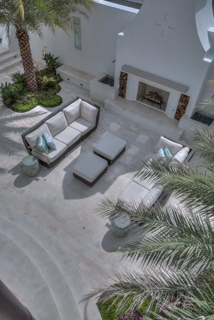 30A beach house outdoor living room from above
