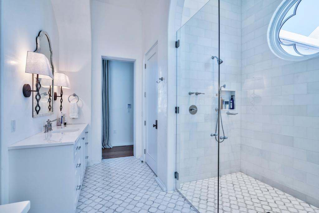 30A beach house master bathroom frameless shower