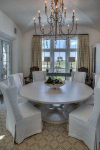 30A Florida beach house dining room with chandelier